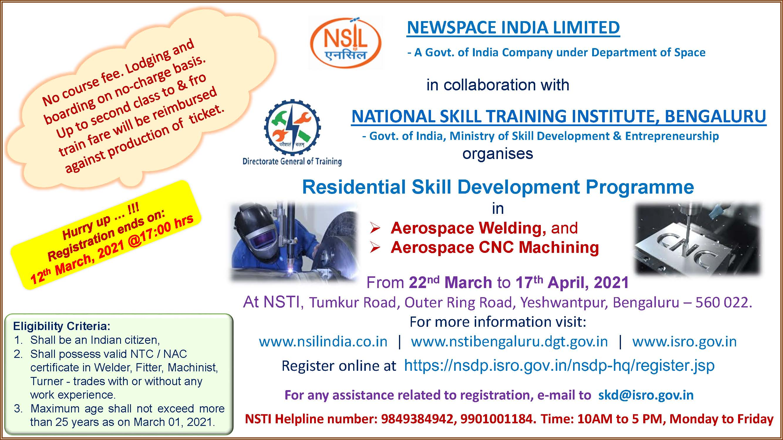 Residential Skill Development programme in Aerospace Welding and CNC machining