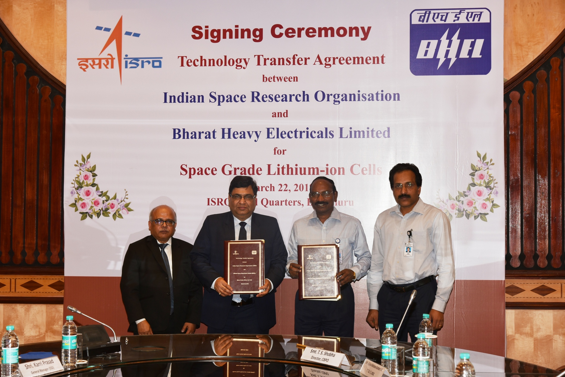 TTA Signing ceremony Mr Subrata Biswas, Director, BHEL (E,R&D),Mr Atul Sobti, CMD, BHEL and Dr K Sivan, Chairman, ISRO and Mr S Somanath, Director Vikram Sarabhai Space Centre
