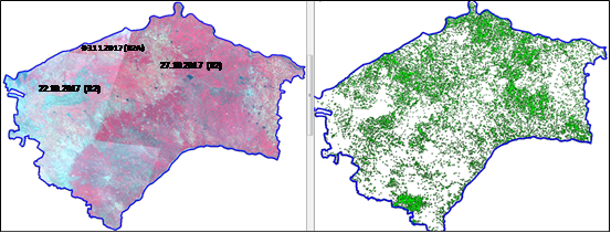 Figure-6: FCC of Resourcesat-2&2A LISS III and Classified Image of Cotton Area in Raichur District, Karnataka (Image Courtesy: MNCFC)