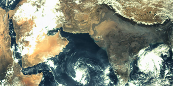 Indian sub-continent as seen by Mars Orbiter Mission spacecraft during its geocentric phase