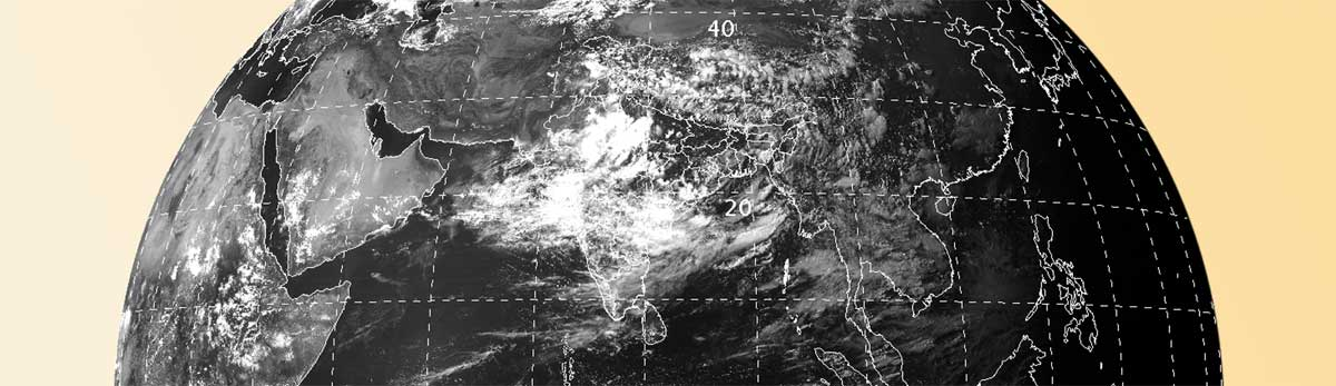 Cloud cover over India as seen by INSAT-3D