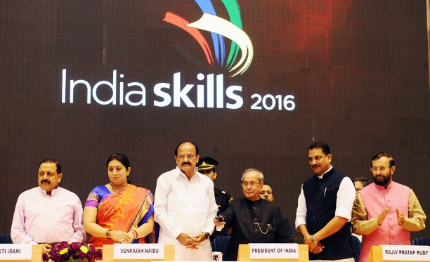 "The Hon'ble President of India, Shri Pranab Mukherjee launching the International Skill Centre during the ""India Skills-2016"" event"