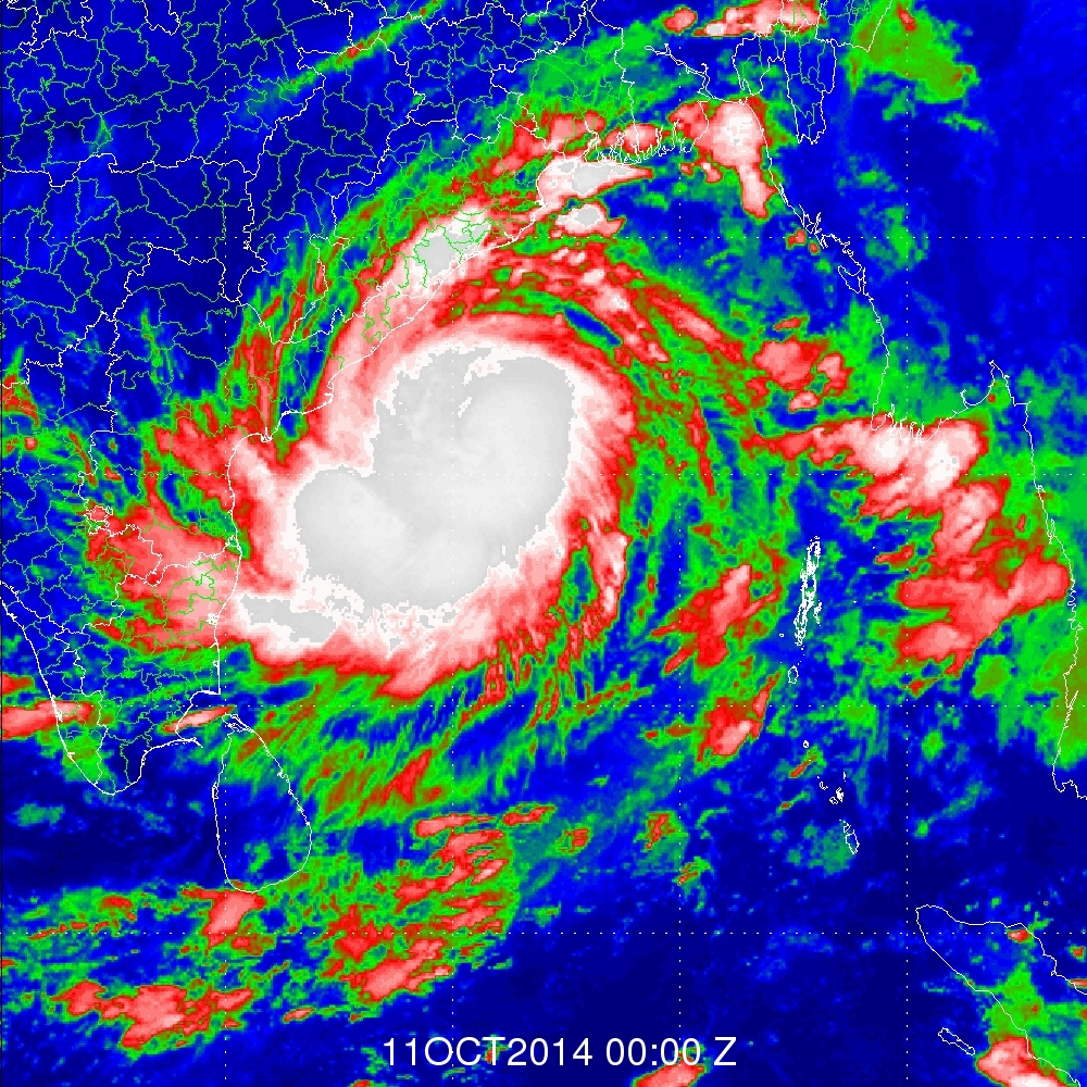 INSAT-3D TIR-1 (10.8 micron) Brightness Temperature Image of Hudhud Cyclone in Bay of Bengal dated October 11, 2014