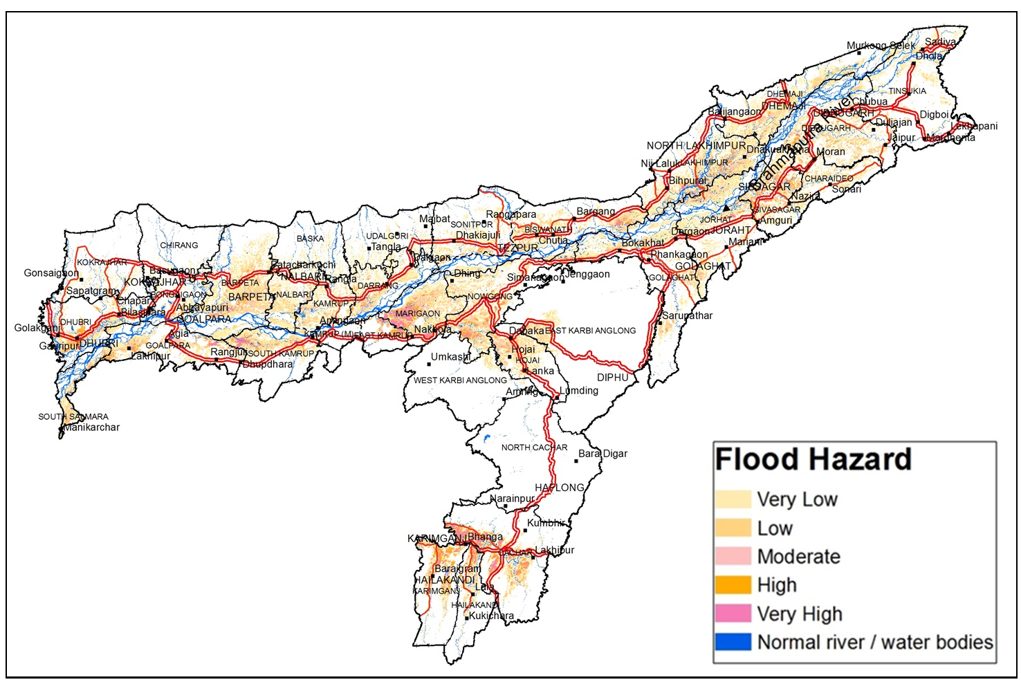 Flood hazard map of Assam (Different colours represent different hazard classes)