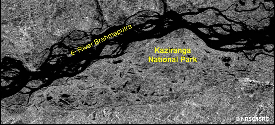 Satellite Images showing the normal and flood conditions at Kaziranga National Park in Assam State. Dark colour indicates water in these Images-Before Floods
