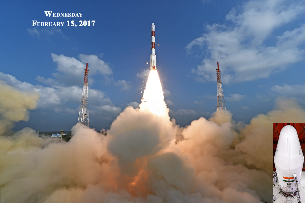 Take-off of PSLV-C37 along with 104 Satellites