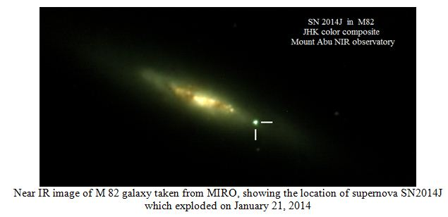Near IR image of M 82 galaxy taken from MIRO, showing the location of supernova SN2014J which exploded on January 21, 2014