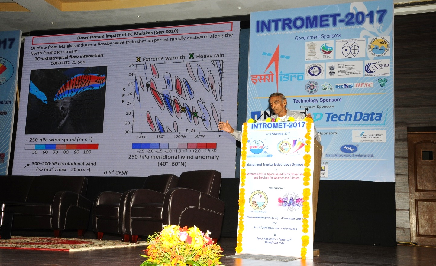 Emeritus Prof. T N Krishnamurti, Florida State University, USA delivering a Plenary Talk