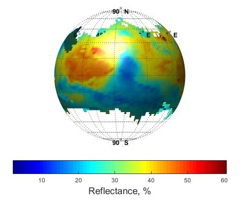 Fig.1 Reflectance map of Mars at 1.65µm derived from  reference channel data of MSM
