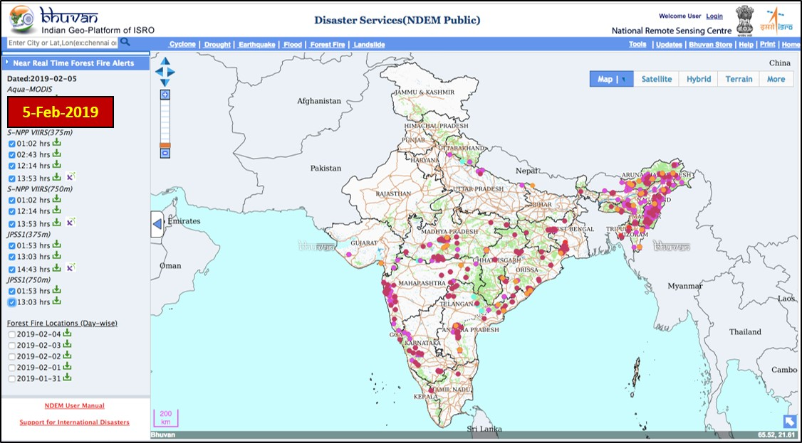Active Forest Fire Locations in India