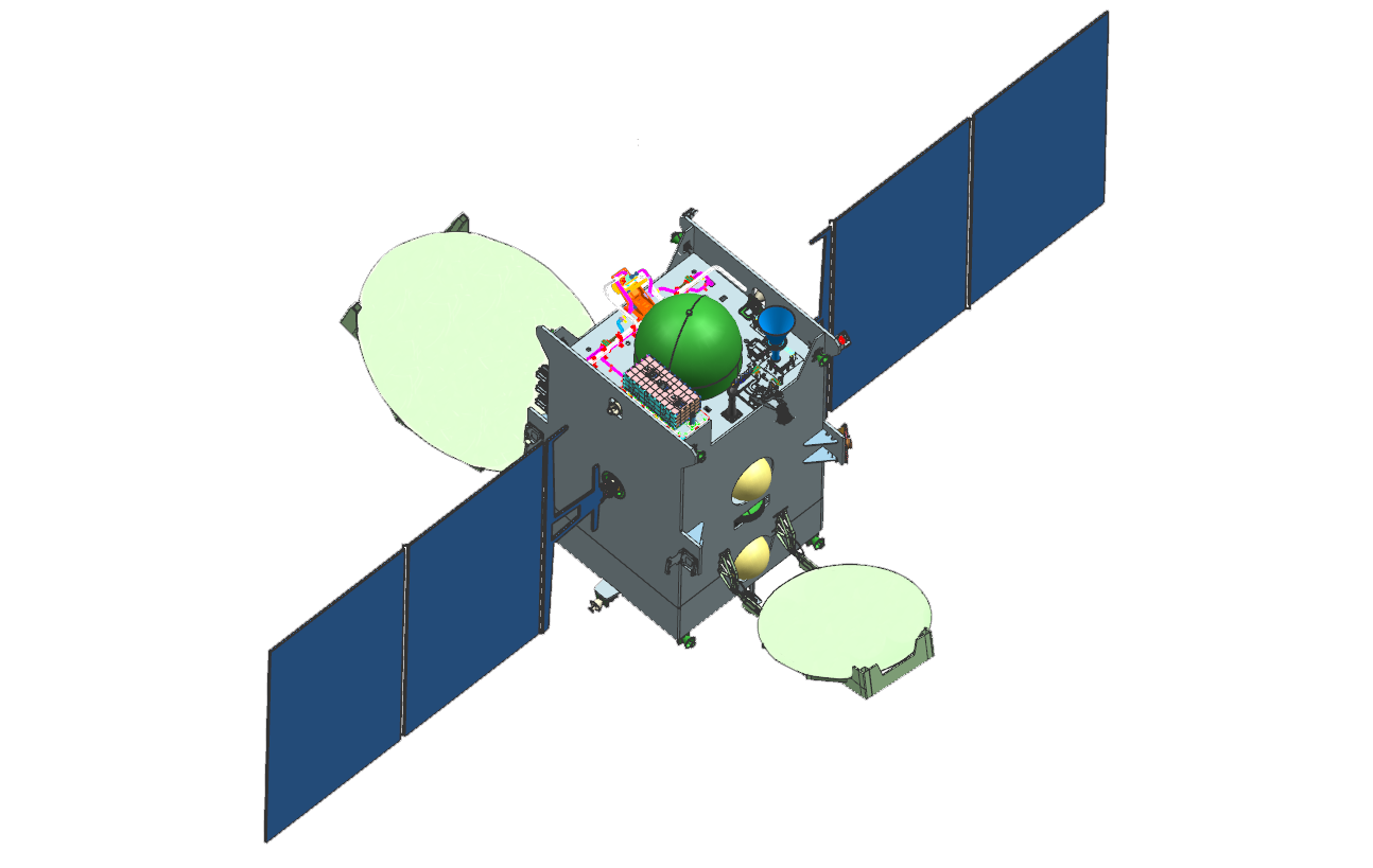 GSAT-9 with solar panes deployed