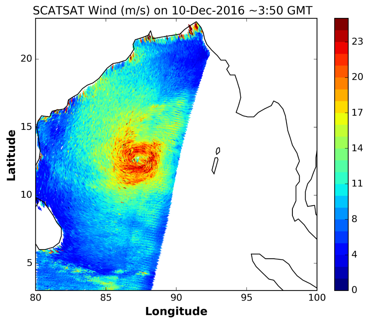 Snapshot of high resolution winds captured by SCATSAT during cyclone Vardha in Bay of Bengal during 10th December 2016