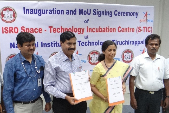 Prof.  Mini Shaji Thomas – Director, NIT-Trichy and Dr. P.V. Venkitakrishnan, Director, Capacity Building Programme Office, ISRO-HQ signed and exchanged the MoU