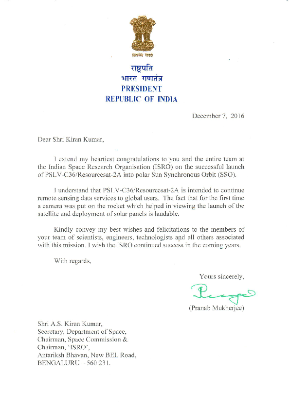 Message From President - PSLV-C36 / RESOURCESAT-2A
