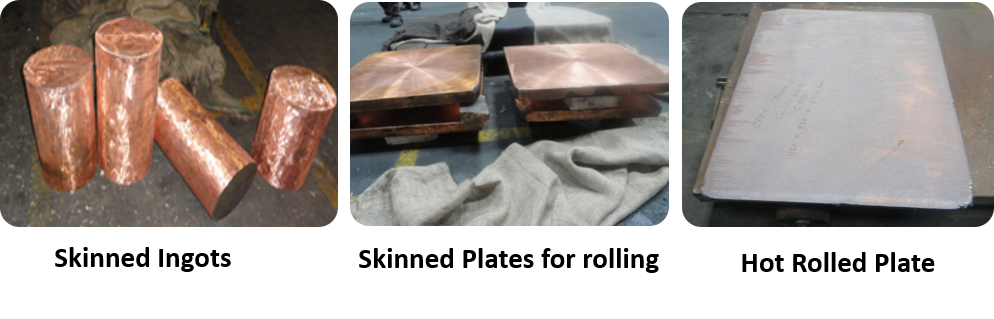 Skinned Ingots, Skinned Plates for rolling and Hot Rolled Plate