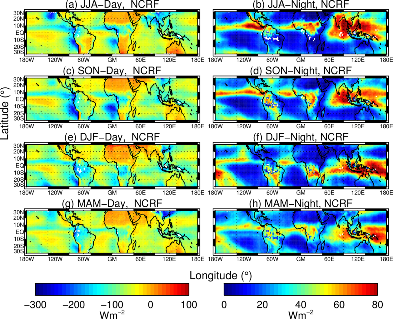 Seasonal mean net cloud radiative forcing (NCRF; unit W m-2) averaged during the daytime (left panel) and nighttime (rightpanel) during the four seasons (averaged for 2012-2016).DJF=Northern Winter (December-February), MAM=Northern Spring (March-May), JJA=Northern Summer (June-August), SON=Northern Autumn (September-November)