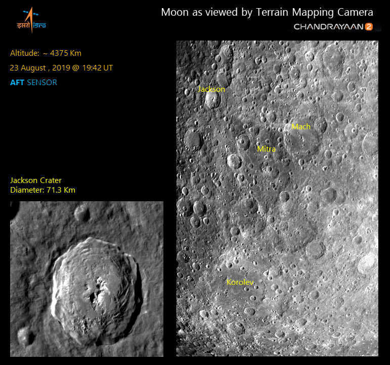 Lunar surface imaged by Terrain Mapping Camera 2 (TMC-2) on 23rd August 2019 at an altitude of ~4375 km showing impact craters such as Jackson, Mitra, Mach and Korolev.
