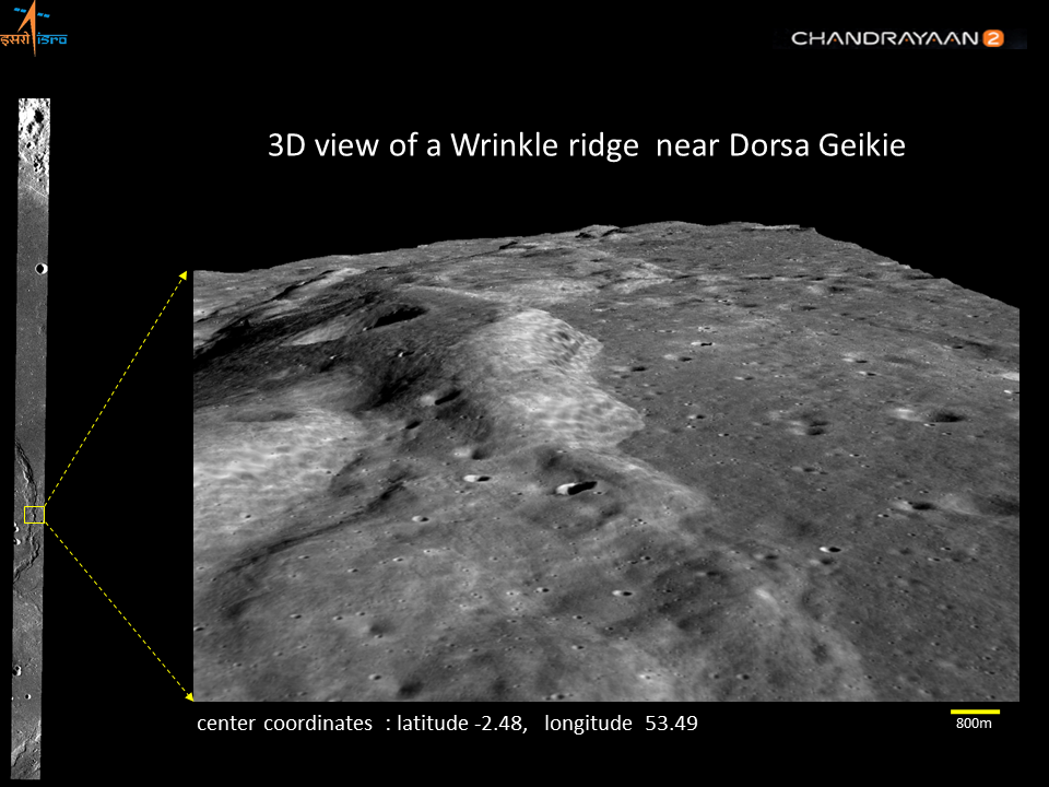 3D view of a Wrinkle ridge near Dorsa Geikie