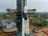The fully integrated GSLV-Mk III D1 carrying GSAT-19 at the Second Launch Pad - side view