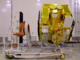 ASTROSAT IN TILTED POSITION IN CLEAN ROOM FOR A PRE-LAUNCH TEST
