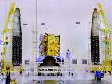 INSAT-3DR seen with two halves of payload faring of GSLV-F05