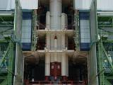 FULLY INTEGRATED PSLV-C30 CORE STAGE WITH STRAP-ONS AT MOBILE SERVICE TOWER