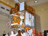 INTEGRATION OF ASTROSAT IN PROGRESS IN A CLEAN ROOM AT ISRO SATELLITE CENTRE
