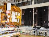 PARTIAL VIEW OF ASTROSAT IN CLEAN ROOM WITH ITS SOLAR ARRAYS IN DEPLOYED CONDITION