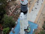 A view of GSLV MkIII-M1 vehicle on its way to the Second Launch Pad