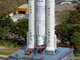 Transportation of partially integrated GSLV MkIII M1 vehicle on Mobile launch pedestal