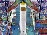 placement of one of the s200 solid boosters of gslv mkiii m1 vehicle on mobile launch pedestal
