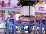 one of the segments of an s200 booster being carried during vehicle integration