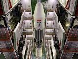 A view of fully integrated GSLV-F09 from the top of Vehicle Assembly Building