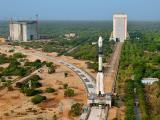 Panoramic View of GSLV-F09 being moved to Launch Pad
