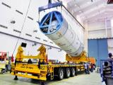 Hoisting of the GSLV-F09 second stage during vehicle integration