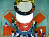 Nozzle End Segment of GSLV-F09 Core Stage being placed on the Mobile Launch Pedestal