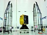 Two portions of GSLV-D3 payload fairing on either side of GSAT-4
