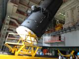 Indigenous Cryogenic Upper Stage being lifted at Vehicle Assembly Building