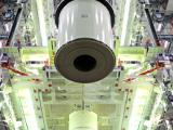 One of the segments of GSLV-D5 First Stage being hosited during Vehicle Integration