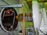GSAT-6 Satellite being loaded into Thermal Vacuum Chamber for environmental testing