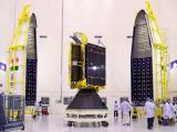 GSAT-6 seen with two halves of payload faring of GSLV-D6