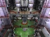 Encapsulated Assembly of payload fairing with GSAT-6 being inegrated at VAB