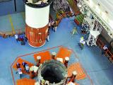 Nozzle End Segment of GSLV-D6 First Stage being prepared for positioning on the Mobile Launch Pedestal