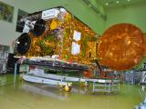 GSAT-17 at clean room with one of its Antennas Deployed