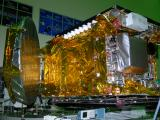 Close-up view of GSAT-10 with one of the antennas partially deployed