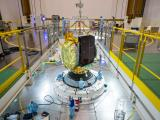 GSAT-15 is being positioned on launch vehicle VA227 at French Guiana.(photo courtesy)  Arienespace