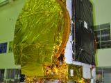 Fully Integrated GSAT-18 Spacecraft in clean room at ISITE Bengaluru