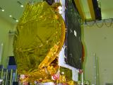 GSAT-18 being hoisted for a prelaunch test