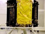 Cartosat-2 Series Satellite in a clean room at the launch centre