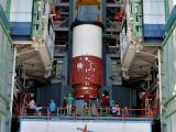 Hoisting of Nozzel End Segment of PSLV-C37 Core Stage during Vehicle Integration